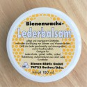 Balm for products made of leather with beeswax.