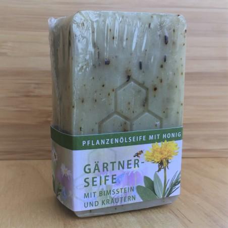 Pflanzenölseife mit Honig, Gärtnerseife mit Bimsstein und Kräutern