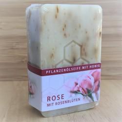 Pflanzenölseife mit Honig und Rosenblüten