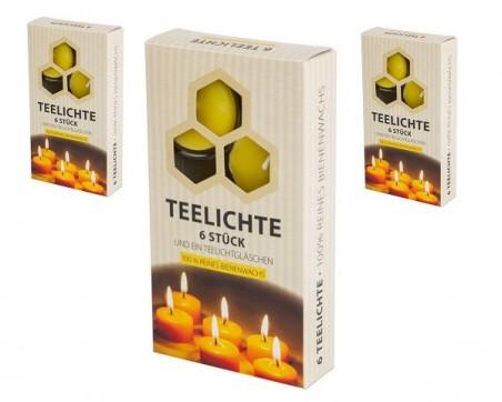 Bienenwachs Teelichte 100% (im 6-er Karton)